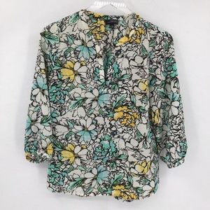 The Limited floral blouse top shirt green yellow S